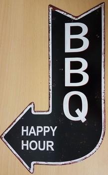 BBQ happy hour pijl uitgesneden metalen wandbord  40 x 25 cm