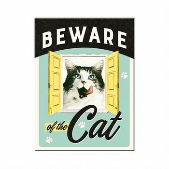 Beware of the cat magneet  8 x 6 cm
