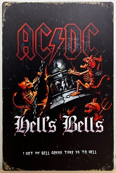 ACDC Hells bells devilmetal sign  30 x 20 cm