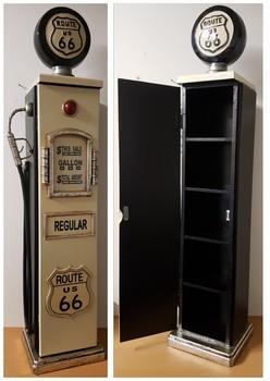 Benzinepomp zwart wit houten kast  104x29x19cm
