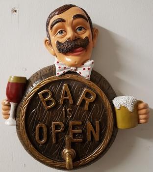 Bar is open mannetje fles glas  32x28cm
