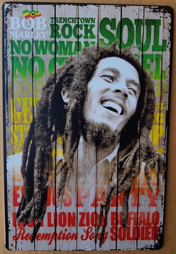 Bob Marley songs kleur metalen wandbord  30 x 20 cm