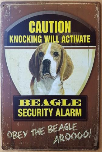 Beagle hond security  alarm metalen bord  30 x 20 cm