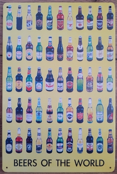 Beers of the world bier flessen  30 x 20 cm