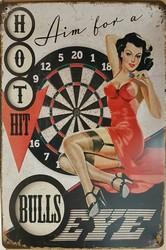 Bulls eye darts pin up metalen wandbord 30 x 20 cm