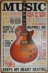 Music gitaar metalen reclamebord 30 x 20 cm