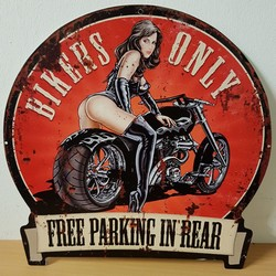 Bikers only free parking in rear pinup metalen wandbor 30 x 30 cm