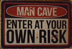Man cave enter at your own risk metalen wandbord 30 x 20 cm