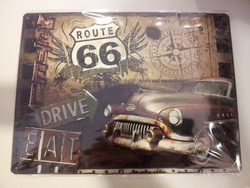Route 66 motel drive eat metaal relief 40 x 30 cm