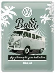 Volkswagen VW Bulli busje reclamebord metaal klein 20 x 15 cm