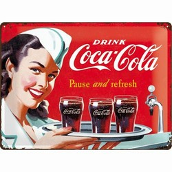 Coca cola pause and refresh dienblad relief 40 x 30 cm