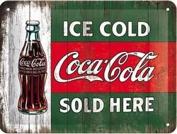 coca cola ice cold sold here metalen bord 20 x 15 cm