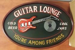 Guitar lounge among friends pubbord 60 x 40 cm