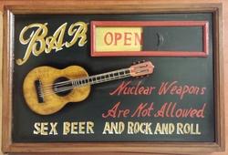 Bar open  closed sex beer rock n roll pubbord 60 x 40 cm