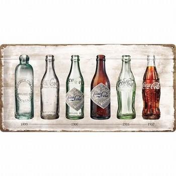 Coca cola timeline flessen metalen wandbord relief