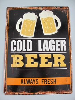 Cold lager beer metalen wandbord