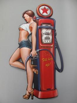Fill here up pin up benzine pomp uitgesneden relief me  79x43cm
