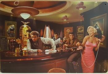 Beroemdheden aan de bar elvis james marilyn metalen re  30 x 20 cm