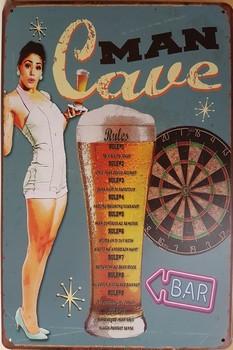 Man cave darts bier rules pinup metalen bord