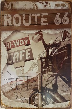 Highway cafe Route 66 motor metalen bord