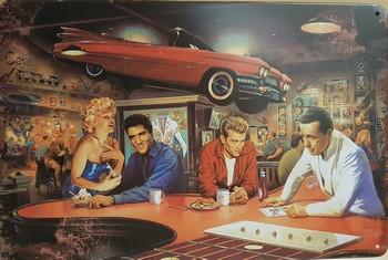 Beroemdheden elvis james marilyn onder rode auto metal  30 x 20 cm
