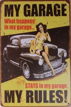 My garage my rules zwarte auto pin up metalen wandbord