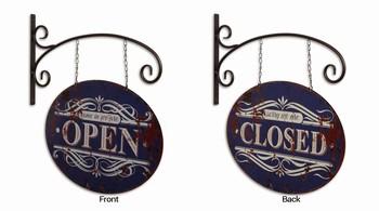 Open closed uithangbord dubbelzijdig metaal