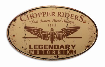Chopper riders ovaal legendary motorbike metalen wandb