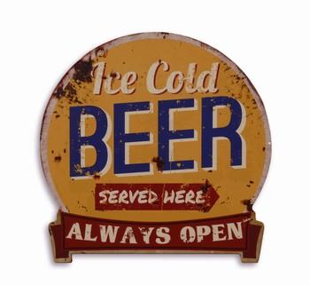 Ice cold beer served here metalen wandbord uitgesneden