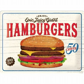 Hamburgers epic juicy giant relief wandbord  40 x 30 cm
