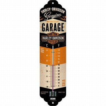 Harley Davidson Garage thermometer metaal  30 x 6,5 cm