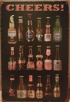Cheers bier flessen merken metalen wandbord