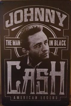 Johny cash man in black metalen wandbord