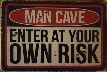 Man cave enter at your own risk metalen wandbord