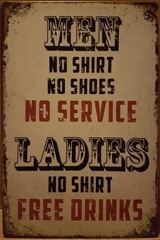 Men no shoe woman no shirt wandbord metaal