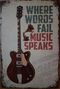 Music speaks gitaar metalen wandbord