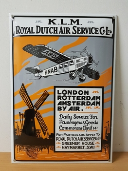 KLM Royal dutch air service emaille reclamebord