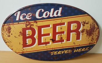 Ice cold beer blauw geel ovaal