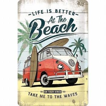 Volkswagen VW Bulli at the beach metalen reclamebor
