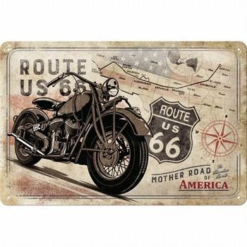 Route 66 Bike map metalen reclamebord relief  30 x 20 cm