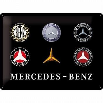 Mercedes benz evolution logo's relief reclamebord metaal