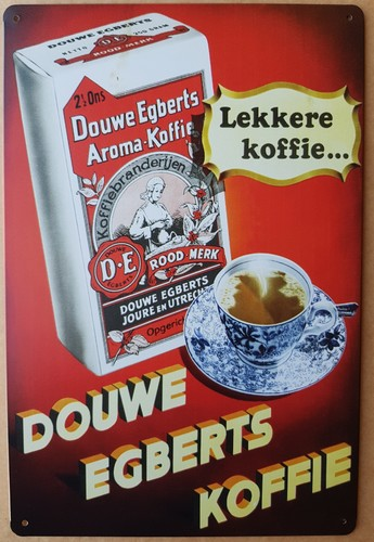 Douwe egberts koffie metalen wandbord  30 x 20 cm