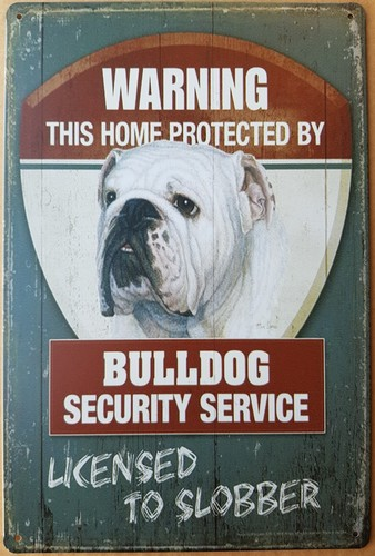 Warning Bulldog security service metalen bord