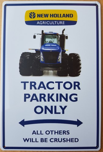 New holland tractor parking only wandbord metaal