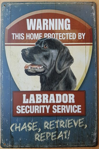 Warning labrador security service zwart