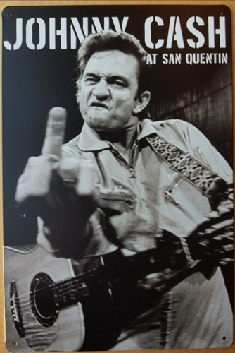 Johnny Cash at san quentin wandbord metaal