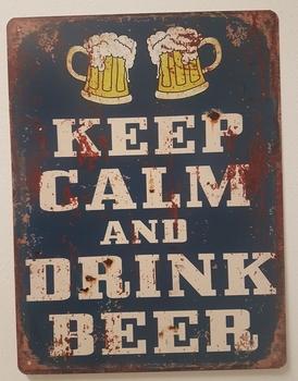 Keep calm drink beer 2 glazen blauw metalen bord