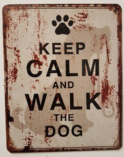 Keep calm and walk the dog metalen bord 20x25cm