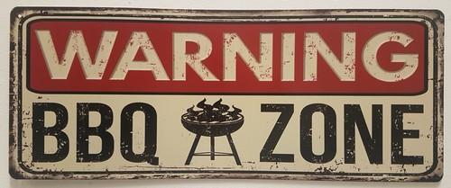 warning bbq zone metalen bord