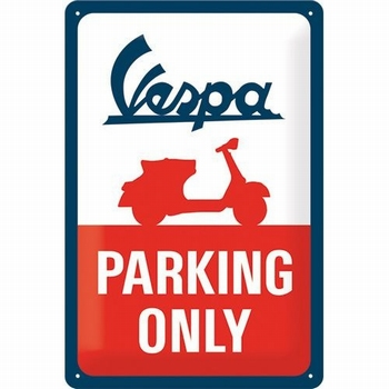 Vespa parking only metalen relief bord